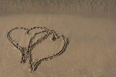 Beach Sand Hearts Royalty Free Stock Photos