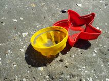 Beach sand plastic toys Stock Photo