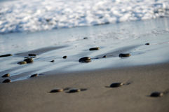 Beach sand sea ocean Sea waves Royalty Free Stock Photography