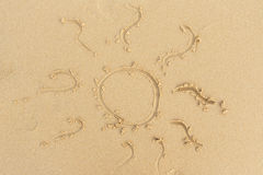 Beach sand sun sign Royalty Free Stock Image