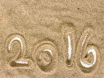 Beach Sand Texture and Background with 2016 Stock Image