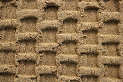 Beach sand texture with vehicle tires footprint Royalty Free Stock Photos