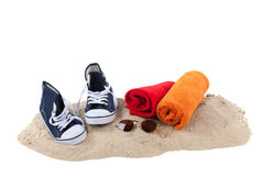 Beach with sand and towels Royalty Free Stock Photography