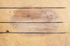 Beach sand on vintage planked wood background Stock Image
