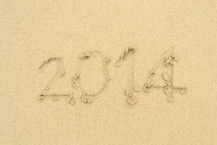 Beach on Sand. The Word Beach Written in the Sand on the Beach Royalty Free Stock Image