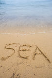 Beach Sand With Written Sea Word I Royalty Free Stock Photo