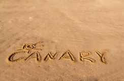 Beach sand with written word  Canary Royalty Free Stock Image