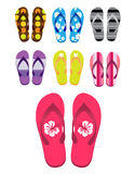 Beach Sandals. Different colorful flip-flops over white background. Also in vector EPS8 format Royalty Free Stock Images