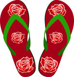 Beach sandals. With red roses Stock Photos