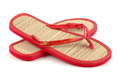 Beach Sandals. Close-up on a white background Stock Photography