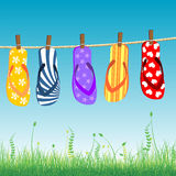 Beach sandals collection vector illustration