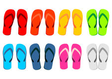 Beach sandals over white Stock Photos