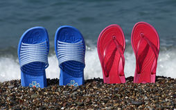 Beach sandals stands Royalty Free Stock Image