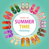 Beach sandals for summer holiday. Flip set of colorful isolated on blue background. Watercolor painting illustration collection of trendy design and stylish stock photography