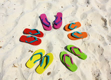 Beach sandals on white sand Stock Image