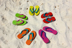 Beach sandals on white sand Royalty Free Stock Photography