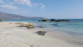 Beach. Sandy beach at the cost of Crete Royalty Free Stock Photos