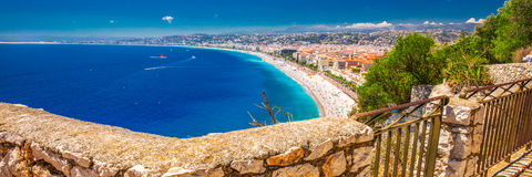 Beach sandy promenade in old city center of Nice, French riviera, France Royalty Free Stock Photography