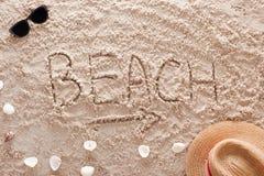 Beach in a sandy tropical beach. The word Beach written in a sandy tropical beach Royalty Free Stock Image