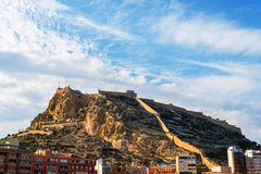 Beach with Santa Barbara Castle in Alicante, Spain Stock Images