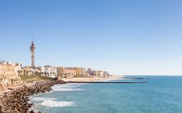 The Beach of Santa Maria del Mar. Cadiz waterfront in Spain and the view along the beach of Santa Maria del Mar Stock Photography