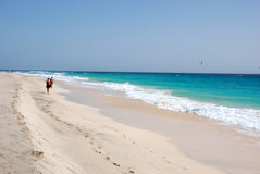 Beach at Santa Maria - Sal Island - Cape Verde. Beautiful beach in Santa Maria, Sal Island, Cape Verde. White sandy beach, blue ocean and sky. Holidays with Stock Photos