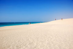 Beach at Santa Maria - Sal Island - Cape Verde. Beautiful beach in Santa Maria, Sal Island, Cape Verde. White sandy beach, blue ocean and sky. Holidays with Royalty Free Stock Photo