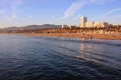 The Beach in Santa Monica, California. The beach and upscale hotels in Santa Monica, California, at sunset Stock Image
