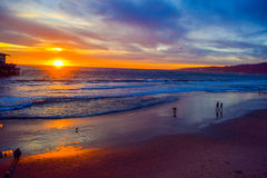 Beach Santa Monica pier at sunset, Los Angeles Royalty Free Stock Images
