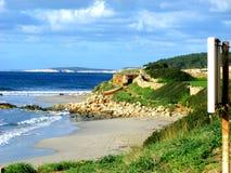 Santo Tomas Beach in Menorca. On the beach of Santo Tomas the road to Binigaus beach Binigaus royalty free stock photo