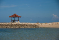 Beach of Sanur. Hut on the beach of sanur Stock Photos