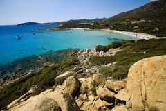 Beach of Sardinia. Panoramic View of the beach of Cala Cipolla in the south of Sardinia Stock Images