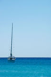 Beach in Sardinia. Sea and boat view in sunny Sardinia Royalty Free Stock Images
