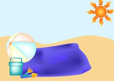 Beach Scene. With towel, ball, bucket, spade and fork stock illustration
