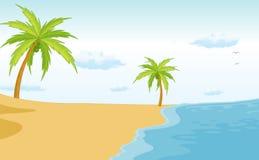 Beach scene. Illustration of an empty beach scene Royalty Free Stock Images