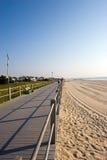 Beach Scene. Boardwalk along the beach on the New Jersey shore Stock Photo