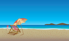 Beach Scene. Clear sky and lounge chair sunshade and little girl Royalty Free Stock Image