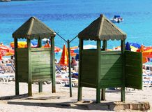 Beach scene. View of a turkish beach and its colours Royalty Free Stock Photos
