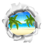 Beach Scene Through Background. A tropical beach with palm trees visible through a hole. Concept for opportunity or a positive future, or just the chance of Royalty Free Stock Photo
