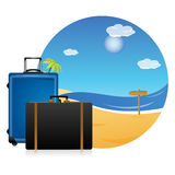 Beach scene with bags. Illustration of beach scene with bags on white background vector illustration