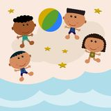 Beach scene with beach ball Royalty Free Stock Images