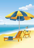 Beach scene: a beach umbrella and a chaise lounge. A beach umbrella, chaise lounge and a drink on a beach table are waiting for a lucky traveler. Bright yellow Royalty Free Stock Photography
