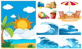 Beach scene with big waves and equipments Royalty Free Stock Photography