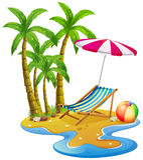 Beach scene with chair and umbrella. Illustration stock illustration