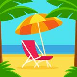 Beach scene with chair and umbrella. Beach scene with umbrella and beach chair surrounded by palm trees. Simple bright flat cartoon style. Tropical vacation vector illustration