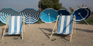 Beach scene. Colorful umbrellas Stock Photography