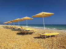 Beach scene on Cyprus beach Royalty Free Stock Images