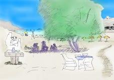 Beach scene doodle sketch color Stock Photo