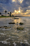 Beach scene with dramatic sunset, cuba Royalty Free Stock Photography