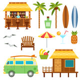 Beach scene elements. With bar, surf van, umbrella, chair and bungalow hotel isolated on white. Flat summer palm tree surfboard, coctail, pineapple vector set Royalty Free Stock Photos